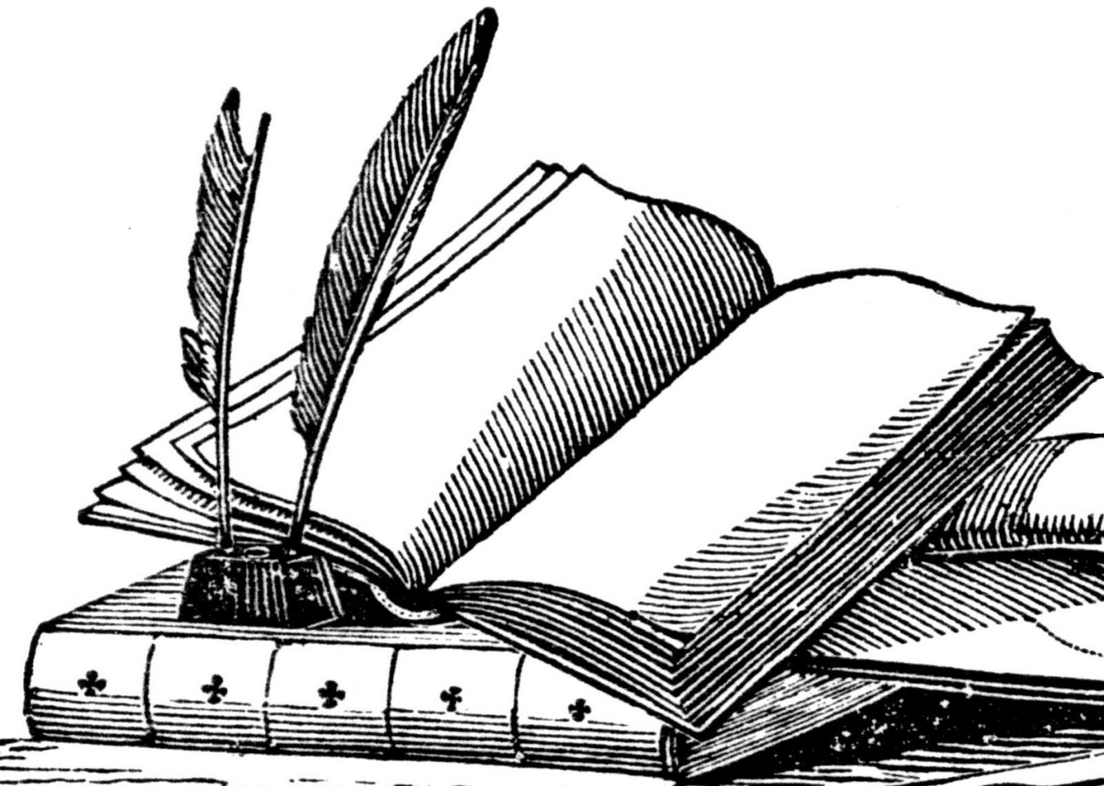 image of ink quill and book